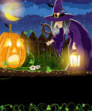 Wicked witch and Jack o Lantern Royalty Free Stock Photography
