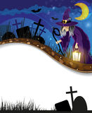 Wicked witch on a  night cemetery Royalty Free Stock Photos