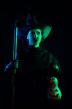 Wicked witch with pumpkin Lantern Stock Image