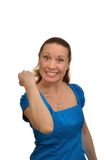 Wicked woman shakes his fist Royalty Free Stock Image