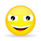 Wickedly grinning emoji. Emotion of gloating. Smirking emoticon. Royalty Free Stock Photos
