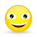 Wickedly het grijnzen emoji Emotie van zich het verkneukelen Smirking emoticon Royalty-vrije Stock Foto's