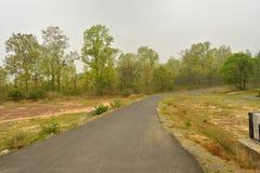 Wickelnde Schotterstraße durch mäßigen Wald bei Jhargram, Westbengalen, Indien lizenzfreie stockfotografie