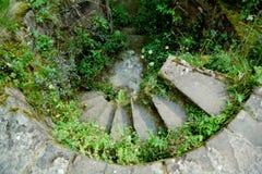 Wickelndes mittelalterliches Treppenhaus Stockbild