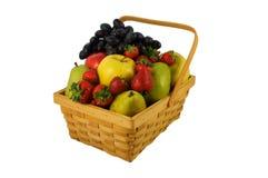 wicker персиков померанцев кивиа виноградин плодоовощей смычка корзины bascket яблок красный связанный Стоковое Изображение RF