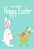 wicker шаблона весны лужка пасхальныхя карточки корзины цветастый Стоковое Изображение RF