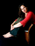 женщина wicker стула унылая Стоковое Фото