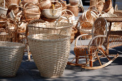Wicker Backpack And Rocker Royalty Free Stock Images