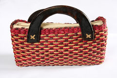 Wicker bag. On the white background Stock Photography