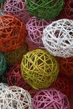 Wicker balls. Decorative wicker balls in different colours Stock Image