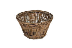 Wicker basket. Small wicker pot/basket isolated on white Royalty Free Stock Photo