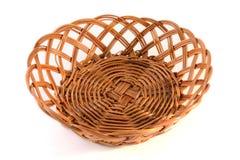 Wicker basket. Empty wicker basket isolated on white background royalty free stock photo