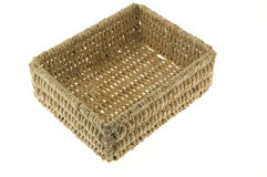 Wicker basket. Weaved hand made wicker basket with white background Stock Photos