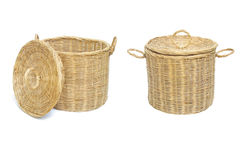 Wicker basket. On white background Stock Photos