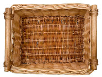 Wicker Basket. An empty wicker basket isolated on a white background Royalty Free Stock Images