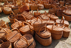 Wicker basket. All in traditional wicker baskets at the county fair royalty free stock photography