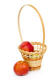 Wicker basket with apples Stock Image