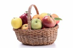 Wicker basket with apples Stock Photography