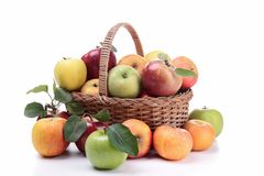 Wicker basket with apples stock photos
