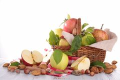Wicker basket with apples Stock Photo