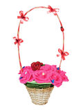 Wicker  basket with artificial flowers Stock Photography