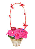 Wicker  basket with artificial flowers Stock Image