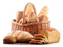 Wicker basket with assorted baking products isolated on white Stock Photography