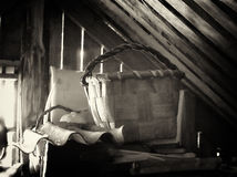Wicker basket in attic Stock Photos