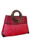 Wicker basket bag pink. Wicker basket isolate on white background Stock Photo