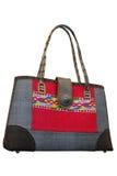 Wicker basket bag silk. Wicker basket isolate on white background Stock Image