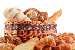 Wicker basket with baking products isolated on white Stock Photo