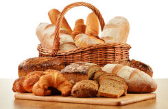 Wicker basket with baking products on white Stock Photo