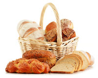 Wicker basket with baking products on white Royalty Free Stock Photography