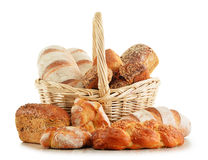 Wicker basket with baking products on white Royalty Free Stock Photo