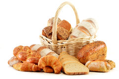 Wicker basket with baking products on white Stock Images