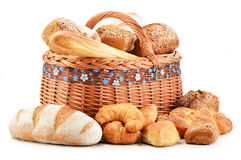 Wicker basket with baking products on white Stock Image