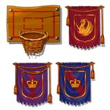 Wicker basket ball, flags with symbols. Sports item for ball games and royal standards. Vector isolated on white Royalty Free Stock Image