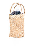 Wicker basket with Blueberries Isolate on white Stock Images