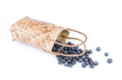 Wicker basket with Blueberries Isolate on white Stock Image