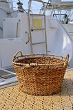 Wicker basket for boat laundry Stock Photos