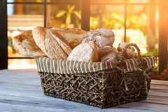 Wicker basket with bread. Stock Photography