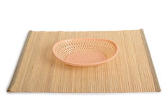 Wicker basket for bread. On the table royalty free stock images