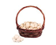 Wicker basket with champignon mushrooms. Stock Photography