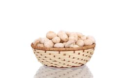 Wicker basket with champignon mushrooms. Royalty Free Stock Image