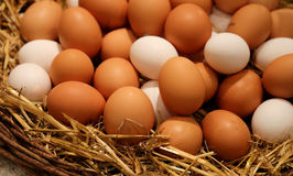 Wicker basket with chicken eggs Stock Photos