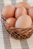Wicker basket with chicken eggs Royalty Free Stock Images