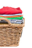 Wicker basket of clean fresh laundry Stock Photography