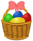 Wicker basket with colored Easter Eggs. Wicker basket topfull colored Easter Eggs. Vector illustration object isolated Royalty Free Stock Photography