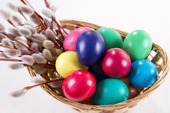 Wicker basket with colored eggs and willow branches on a white background Stock Image