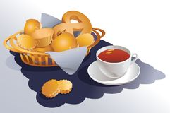 A basket with cookies, muffins, pretzels and a white mug of tea. Vector illustration royalty free illustration